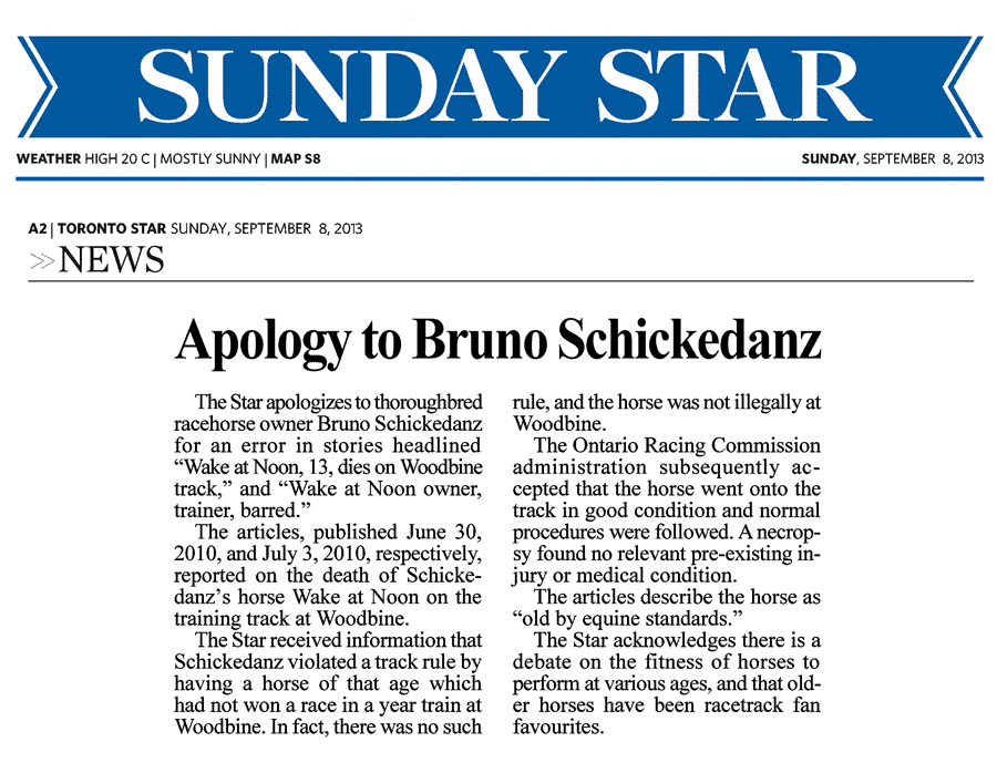 Toronto Star  2013-09-08 - Apology by Toronto Star to Schickedanz